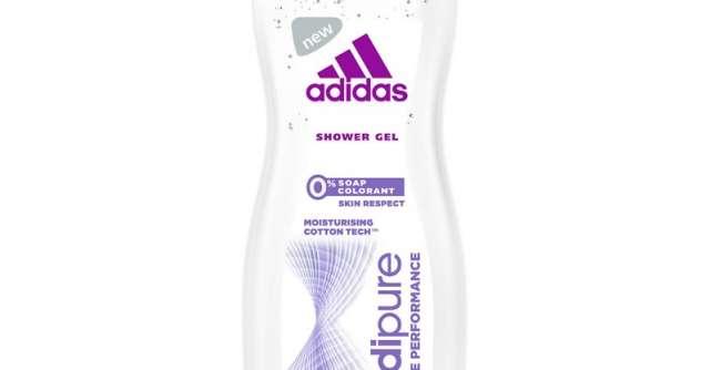 adidas lanseaza noul gel de dus Adipure: o% sapun, o% colorant, tehnologie de hidratare cu extract de bumbac
