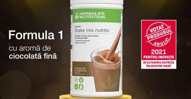 Shake-ul înlocuitor de masă Herbalife Nutrition Formula 1 cu aromă de ciocolată fină a câștigat premiul Votat Produsul Anului