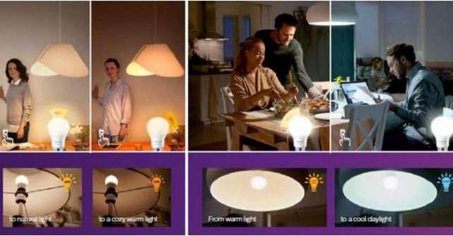 Un bec. Un întrerupător. Trei setări ale luminii Becurile Philips SceneSwitch