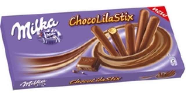 Milka ChocoLila Stix - biscuiti crocanti inveliti in cea mai fina ciocolata din Alpi