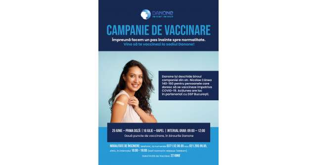 Danone continuă să sprijine comunitatea locală și deschide biroul companiei pentru o acțiune de vaccinare