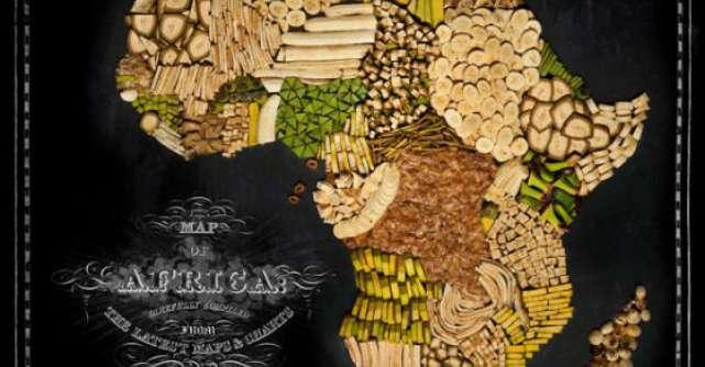 Video: Doi artisti pasionati de calatorii au realizat harta lumii din alimente