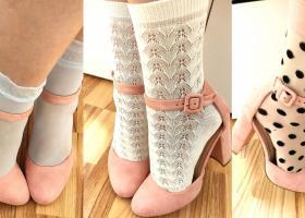 Șosete lycra cu model drăguț și textură simpatică - de purtat la pantofi!