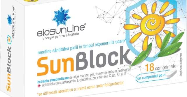 SUN BLOCK - noul produs pe piața farmaceutică din România care blochează radicalii liberi generați și de radiațiile UV și mențin