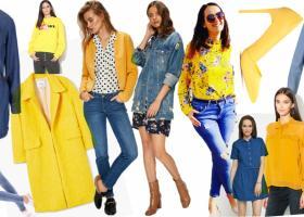 Ținute cu denim albastru: cum combini piese de blugi cu haine galbene