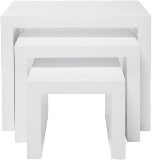 Masute White Club Nest Of 3 Tables