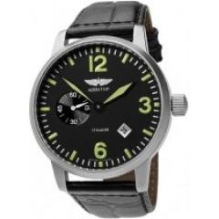 Ceas de mana pe curea din piele neagra Aviator 3105/6975647