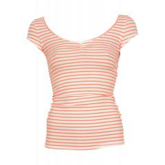 Tricou cu dungi orizontale din bumbac Bershka Premium Pink