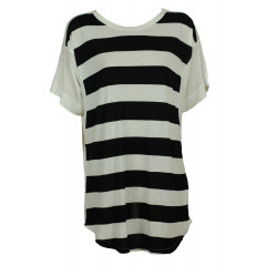 Tricou ZARA in dungi alb-negru Nighty White