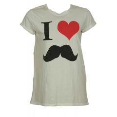 Tricou de dama cu mesaj Zara cu mustata, inimioara si desene simpatice