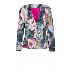 Sacou cu imprimeu floral bleumarin cu roz model V320