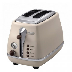 Prajitor de paine DeLonghi Icona Vintage CTOV 2003.BG, Putere 900W, Capacitate 2 felii, Functie dezghetare, Functie reincalzire