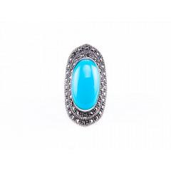 Inel argint masiv cu o piatr oval de turcoaz albastru 7