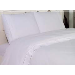 Lenjerie de pat cu dantela din bumbac ranforce StudioCasa White Swan 2 persoane