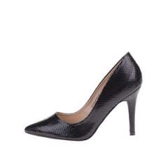 Pantofi negri cu toc Pieces Valerie, cu textura de piele de sarpe
