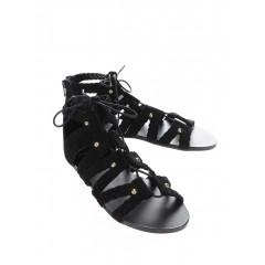 Sandale negre din piele cu siret