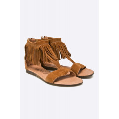 Sandale maro din piele naturala cu franjuri Marco Tozzi