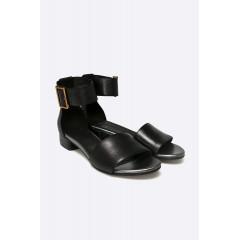 Sandale negreu cu toc mic, patrat, din piele naturala