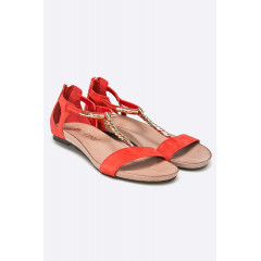 Sandale rosii cu talpa joasa din piele naturala