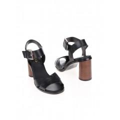 Sandale negre din piele naturala cu toc gros Aldo