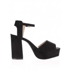 Sandale negre cu toc inalt si platforma