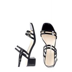 Sandale din imitatie de piele cu toc gros