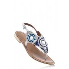Sandale albastre cu perle decorative