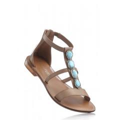 Sandale joase din piele bej