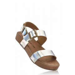 Sandale argintii cu platforma joasa - confortabile