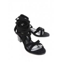 Sandale negre cu toc mic si barete pe ghezne Miss Selfridge