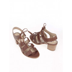 Sandale maro din pilele cu toc si siret