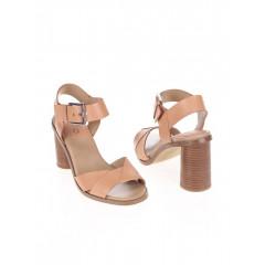 Sandale din piele cu toc roz prafuit