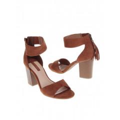 Sandale maro cu toc si franjuri