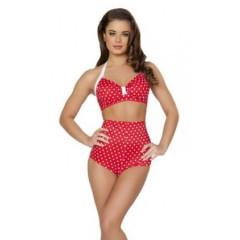 Costum de baie rosu cu buline model vintage