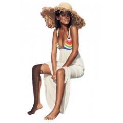 Rochie lunga de plaja, cu model crosetat, multicolor
