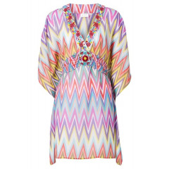 Rochie de plaja vaporoasa multicolora