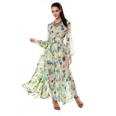 Rochie lunga si vaporoasa cu imprimeu tropical