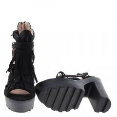 Sandale negre cu toc si platforma