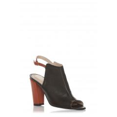 Sandale cu toc gros din piele naturala