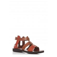Sandale rosu cu maro din piele naturala