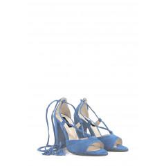 Sandale bleu cu siret din piele intoarsa
