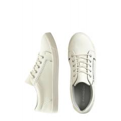 Pantofi sport albi simpli cu siret