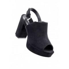 Sandale negre cu toc gros si platforma