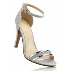 Sandale argintii cu toc subtire pentru tinute de seara
