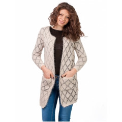Cardigan dama lung Fluffy With Pockets Cream