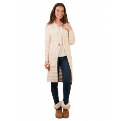 Cardigan dama lung cu brosa Just A Girl White