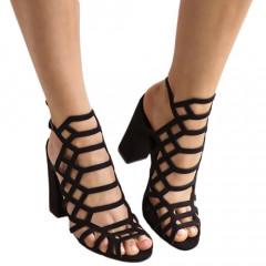 Sandale negre cu toc gros