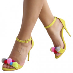 Sandale galbene cu ciucuri colorati
