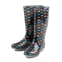 Cizme de cauciuc, lungi, negre cu buline multicolore