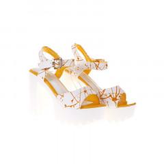 Sandale albe cu toc si platforma